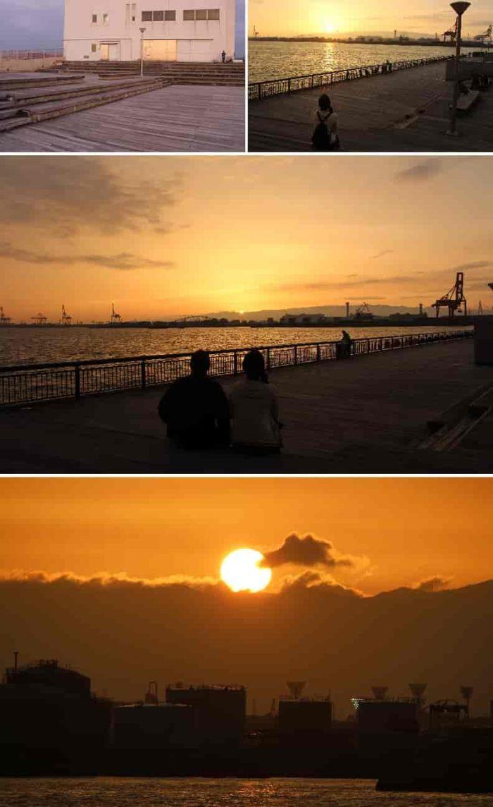 夢洲や舞洲に沈みゆく夕日を一望できます。