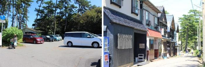 越前松島の有料駐車場です。