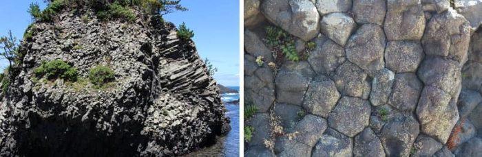 越前松島の柱状節理の風景です。