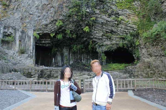 江戸時代の採石場の名残です。
