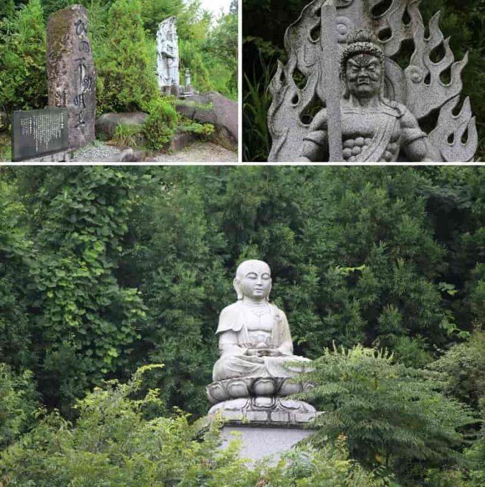 地蔵座像&ひの不動明王の石像です。