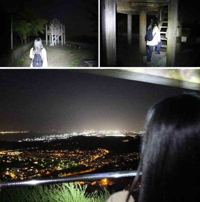 木製の展望台から眺めた夜景です。