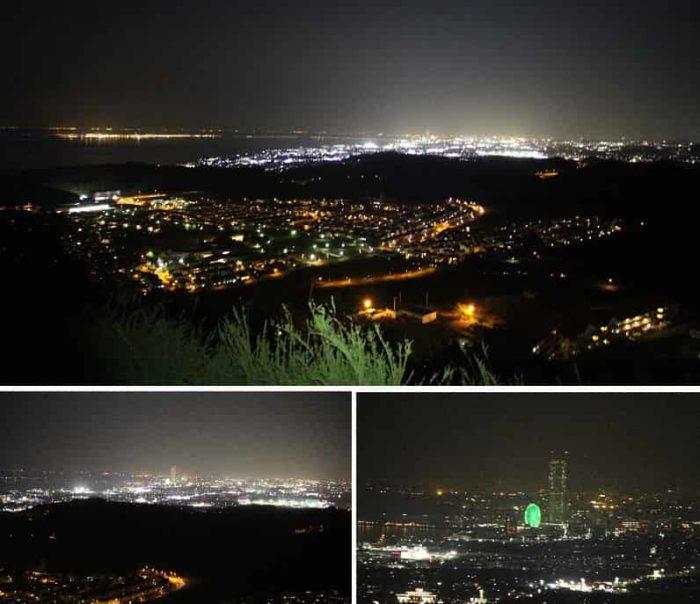 展望緑地より眺めた夜景です。