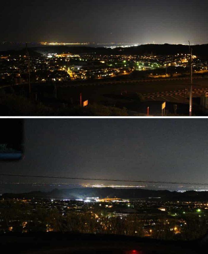 サンヒル都の駐車場より眺めた夜景です。