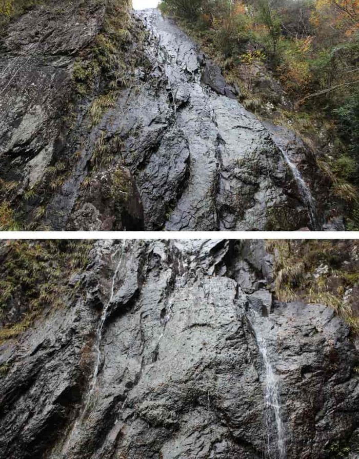 直下で望む「扁妙の滝」です。