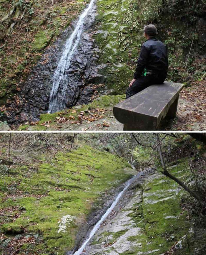 静かに流れ落ちる「オウネン滝」です。