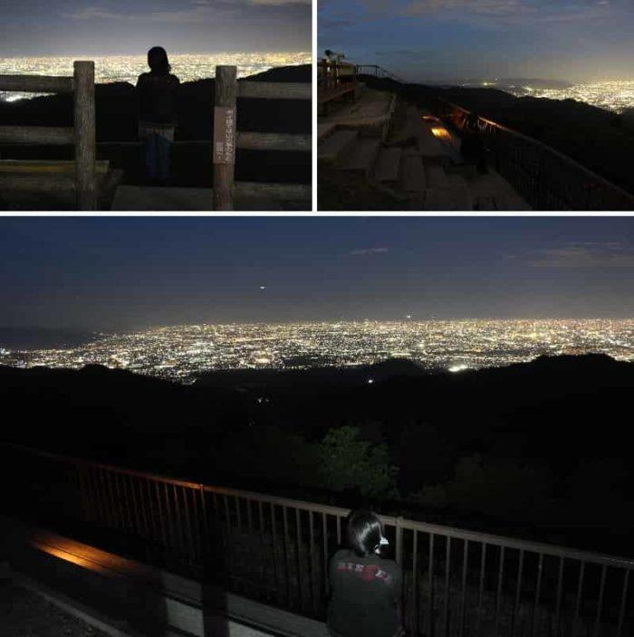 段々畑状の観覧席から眺める夜景です。