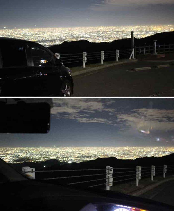 車中より眺めた大パノラマ夜景です。
