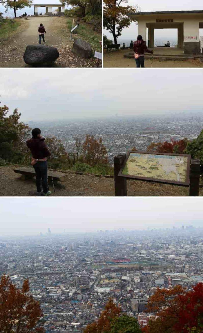 枚岡山展望台から眺めた景色です!。