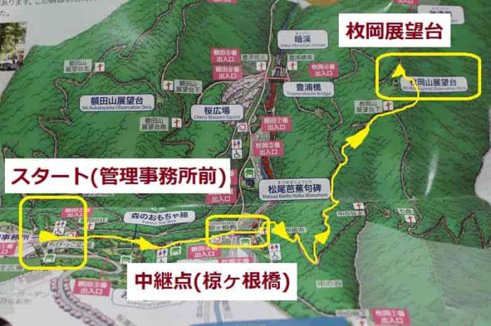 枚岡山展望台までの散策マップです。