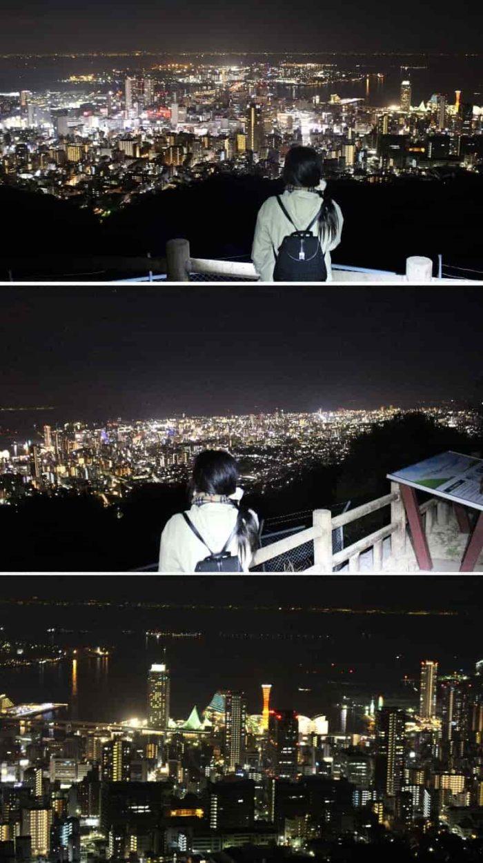 パノラマ状に広がる神戸の夜景です。