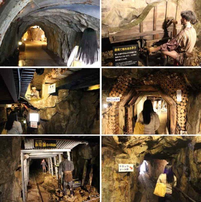 観光坑道内の江戸時代採掘ゾーンです。