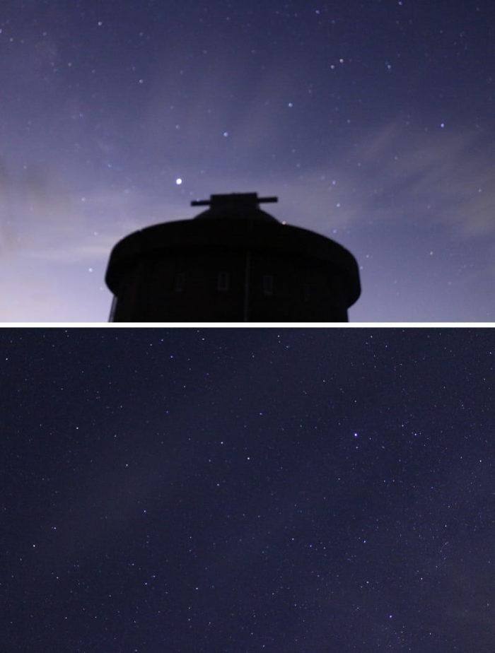 猪名川天文台の頭上に広がる星空です。