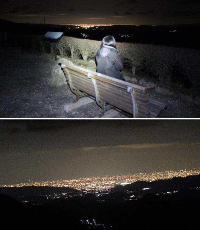 光害となる街灯りの夜景です。