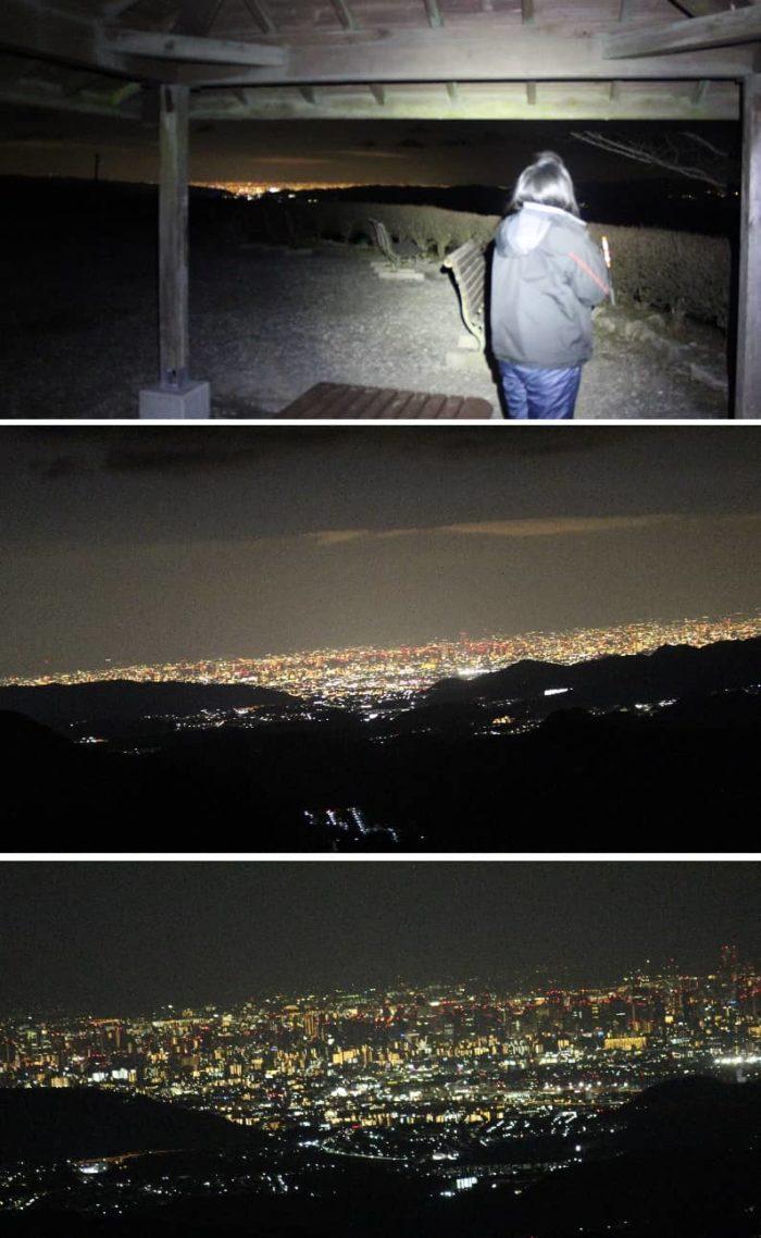 遙か彼方で光る街灯りの夜景です。