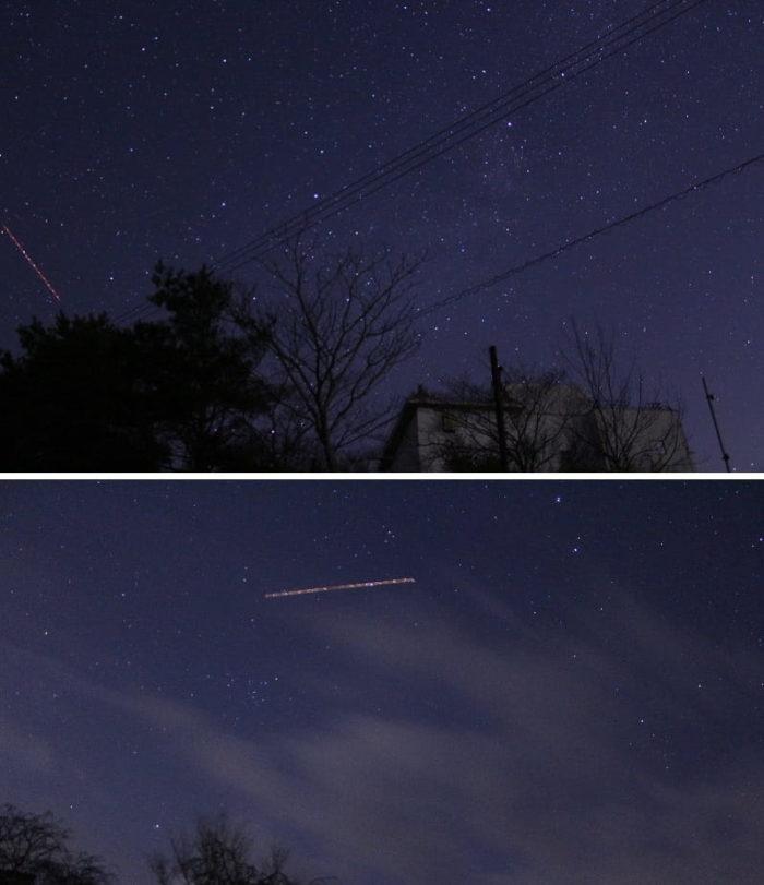 流れ星らしき赤いラインです。
