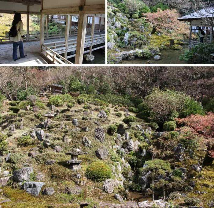 山腹をうまく利用した造りの庭園です。