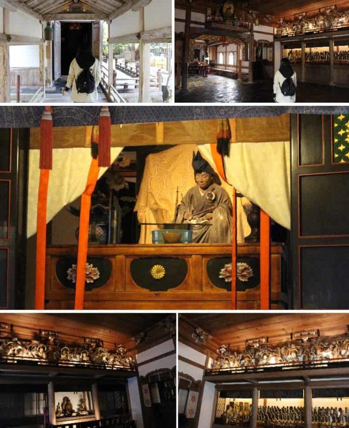 天井下鴨居に仏像が安置されています。