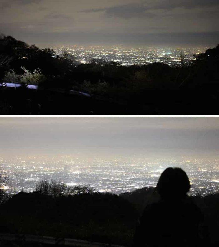目の前に広がる大阪平野の夜景です。