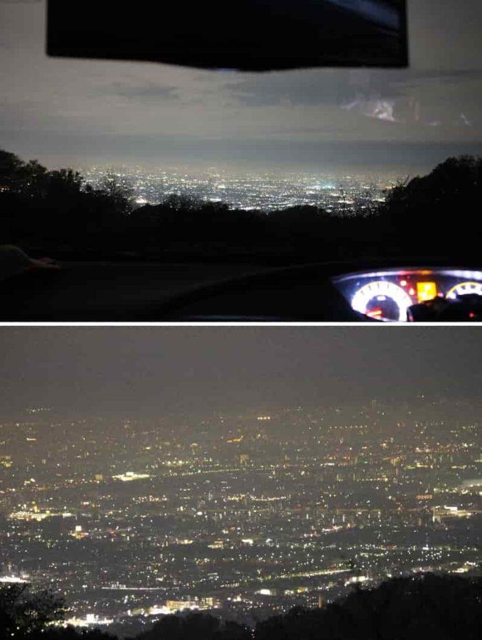 車に乗ったまま眺める夜景です。
