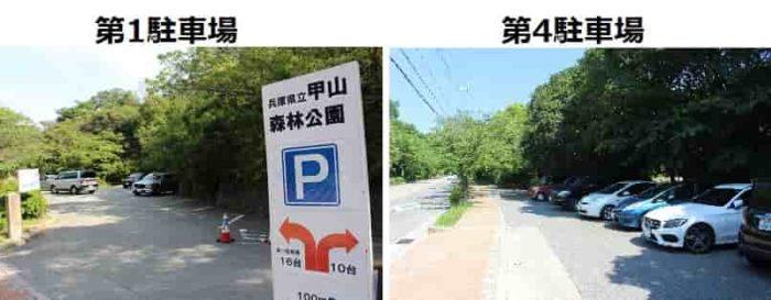 甲山森林公園の無料駐車場です。
