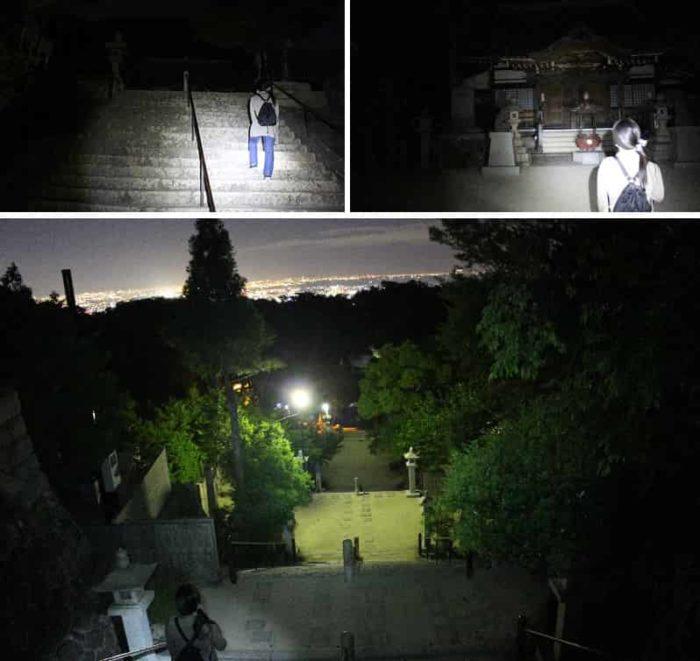 本堂に続く100段からなる石階段です。