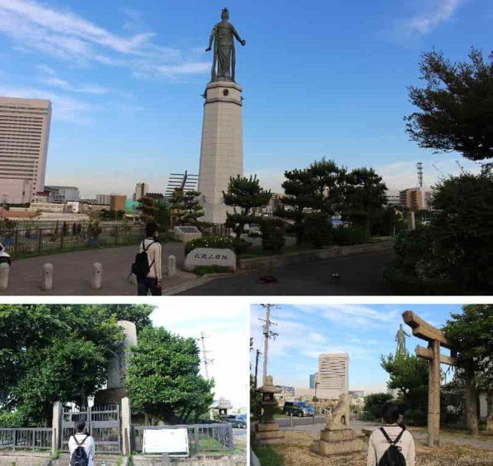 顕彰碑と今は無き神社の鳥居です。