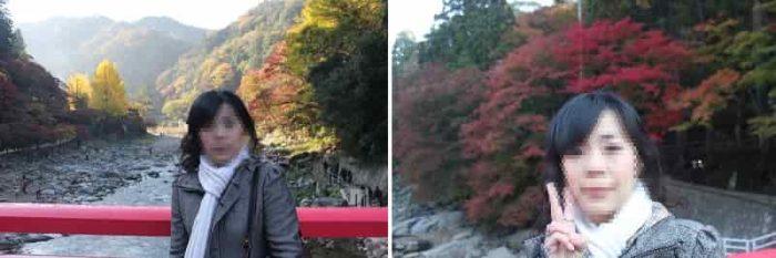 待月橋の中央より眺める紅葉です。