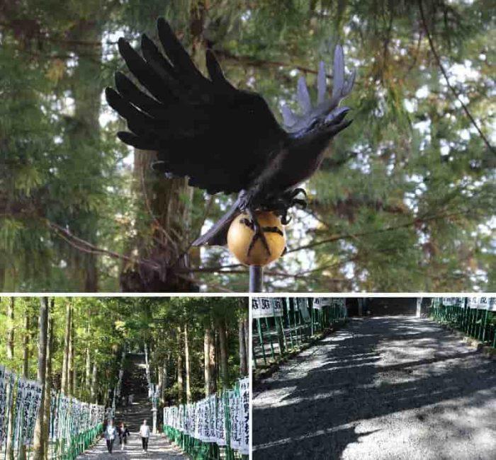 熊野本宮大社の長く延びる参道です。
