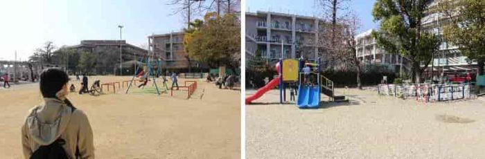 子供向け遊具が置かれた広場です。