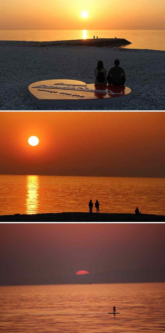 日本の夕陽100選マーブルビーチです。