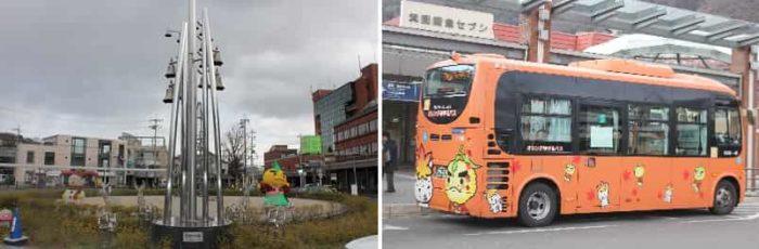 カリヨンの塔とオレンジゆずるバスです。