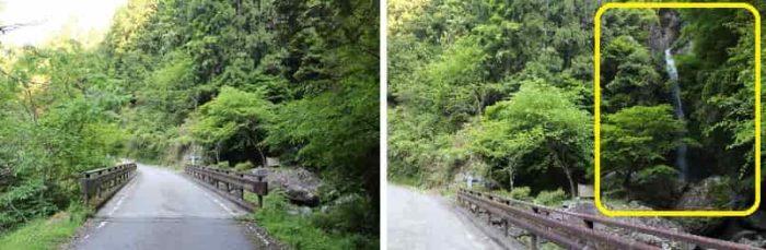右手側に宮の滝が見えています。