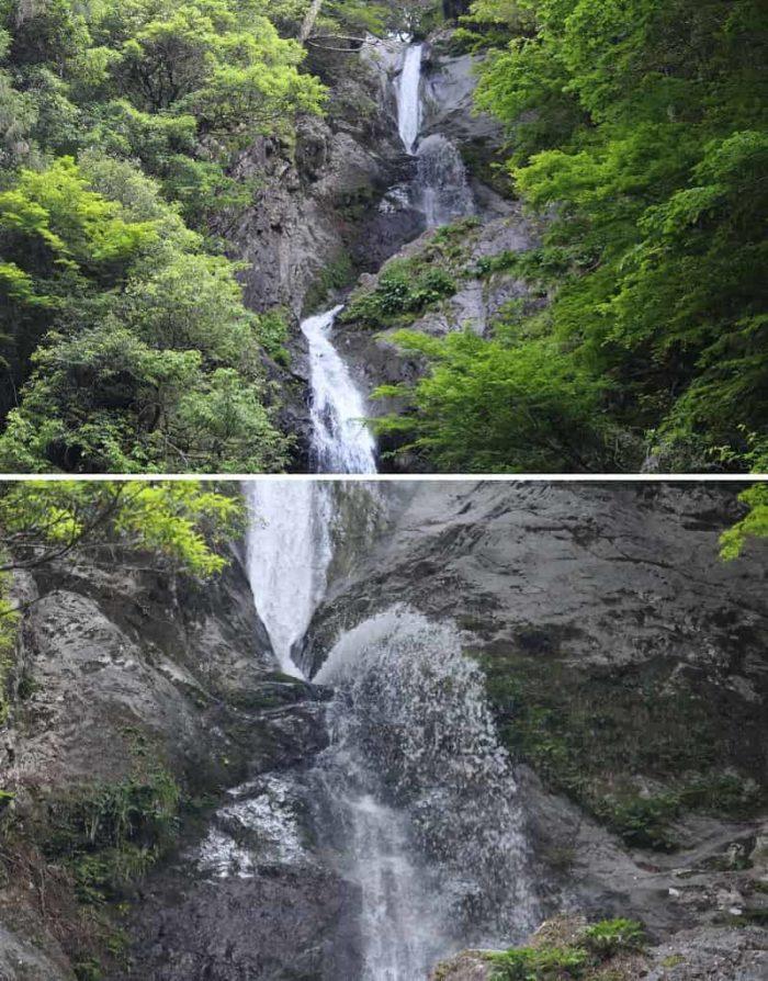 空中に吹き出すように3段目の滝へ流れ落ちます。