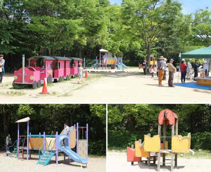 お子様向けの木製遊具や砂場です。