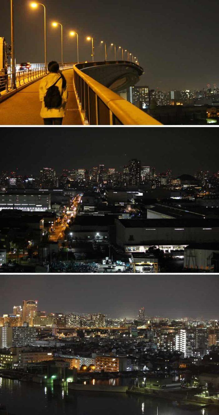 なみはや大橋の中央より望む夜景です。
