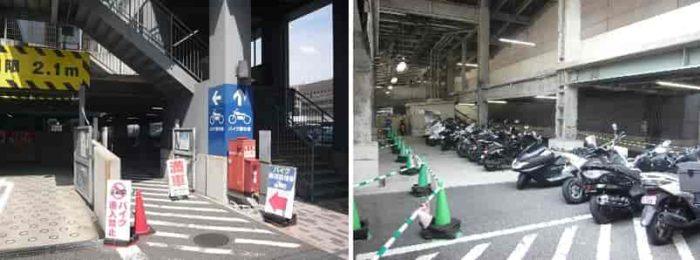 バイクの無料駐車場です。