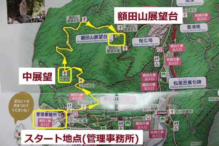 額田山展望台までの散策マップです。