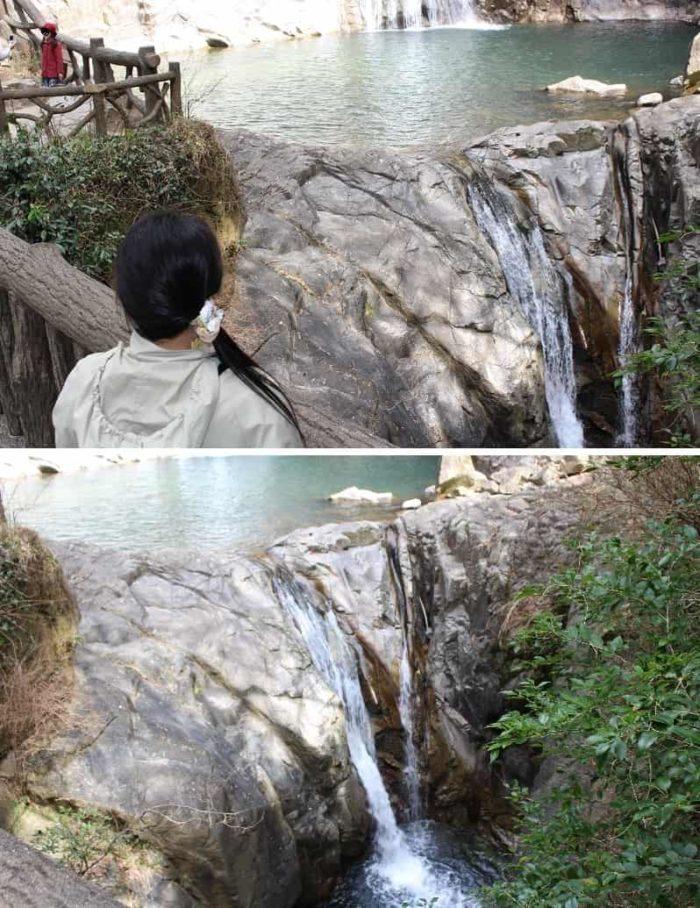 滝壺付近で1つに重なる夫婦滝です。