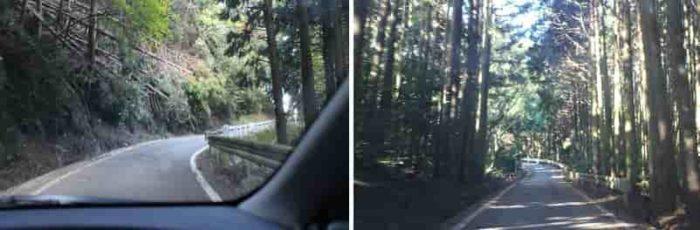 生石高原までの険しい山道です。