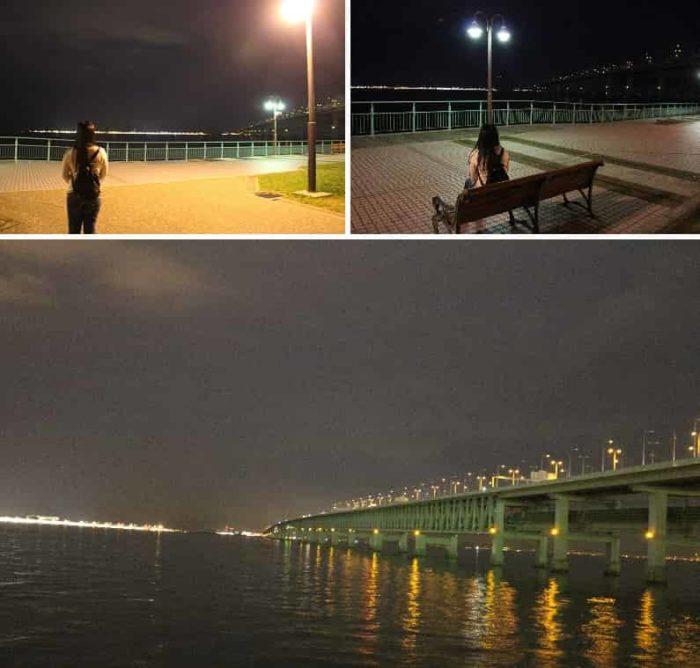 大阪湾の夜景を一望できます。