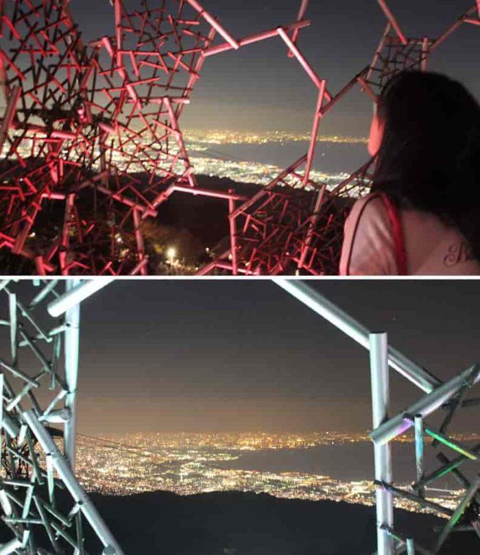 六甲枝垂れより眺める夜景です。
