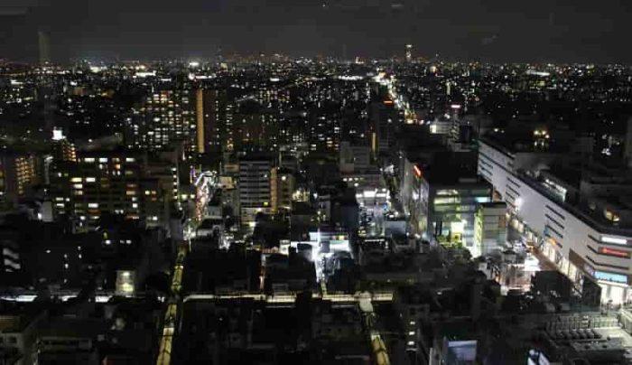 21階展望ロビーから眺める夜景です。