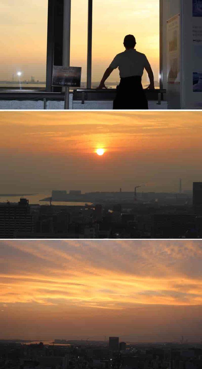展望ロビーより眺める夕日です。