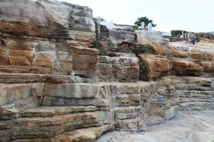 千畳敷の大岩盤の砂岩の層です。
