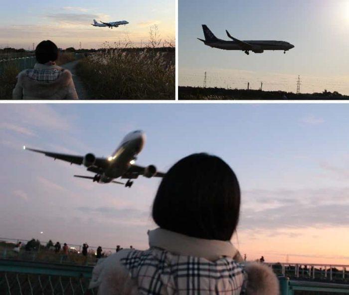 頭上を通過する飛行機が大迫力です。
