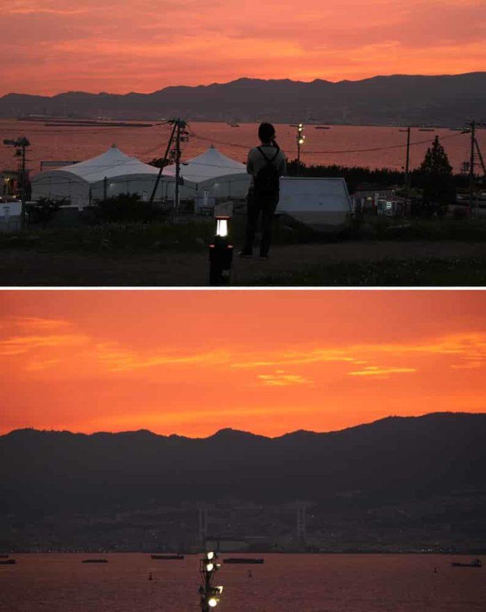 『日本の夕陽100選』の夕景です。