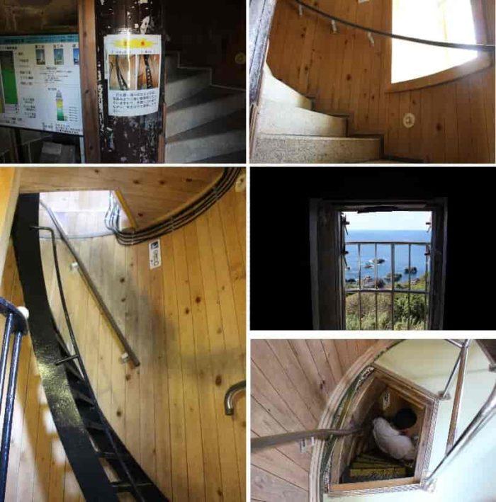 潮岬灯台の内部のらせん階段です。