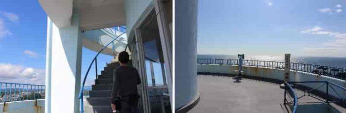 屋上展望台へと伸びるらせん階段です!