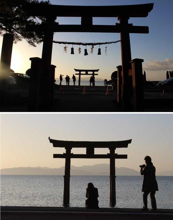 琵琶湖に浮かぶ大鳥居の景色です。